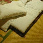 Ein futon auf einer Tatami matte von oben. nur die ecke des bettes ist erkennbar. ein kissen liegt auf der matte.