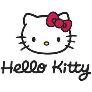 Das Hello Kitty Logo. Eine Weiße Cartoon Katze mit einer Pinken schleife auf der stirn.
